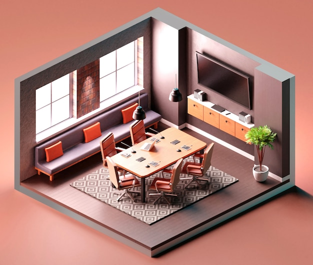 Interno della sala riunioni con composizione isometrica nel computer portatile. illustrazione 3d