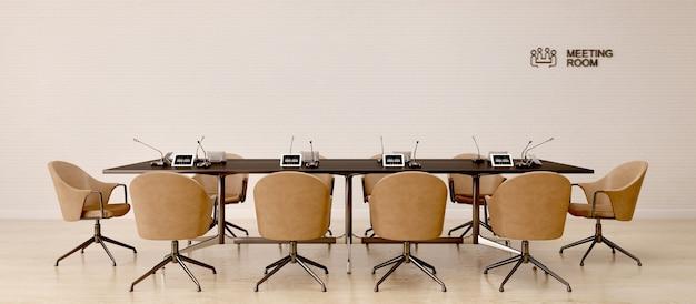 Interiore della sala riunioni con sedie in pelle in stile moderno
