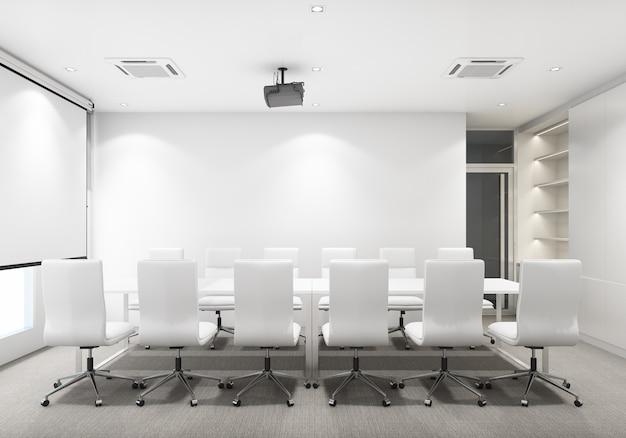 Sala riunioni in un ufficio moderno con pavimento in moquette e scaffale per libri con schermo per proiettore. rendering 3d di interni