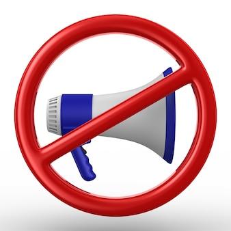 Megafono e segno proibito su bianco