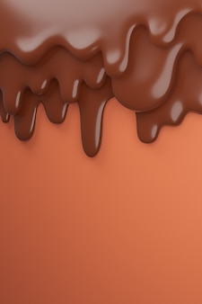 Cioccolato fondente marrone latte scorre verso il basso, rendering 3d