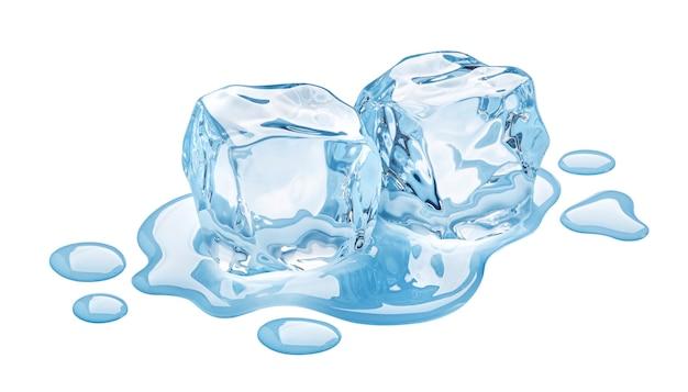 Cubetti di ghiaccio di fusione isolati su priorità bassa bianca con il percorso di residuo della potatura meccanica