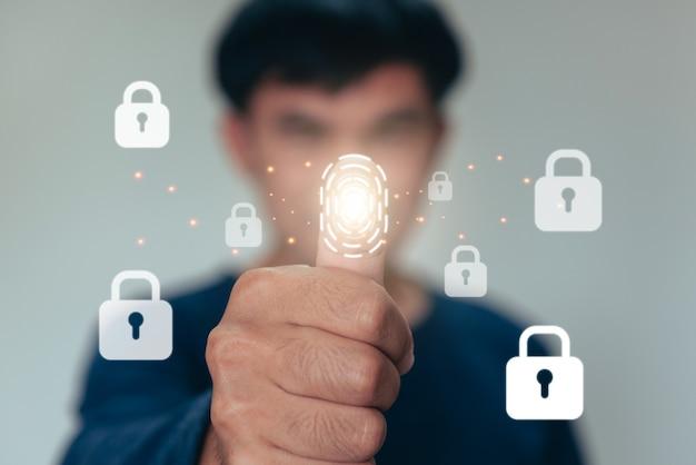 La scansione delle impronte digitali degli uomini fornisce l'accesso di sicurezza con l'identificazione biometrica. tecnologia di sicurezza internet concept