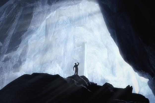 Siluetta della persona degli uomini in caverna di ghiaccio di cristallo blu e primo piano estremo sotterraneo. rendering 3d