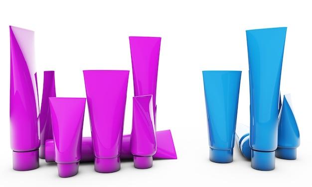 Set di cosmetici per uomo e donna. tubi rosa e blu su sfondo bianco, rendering 3d