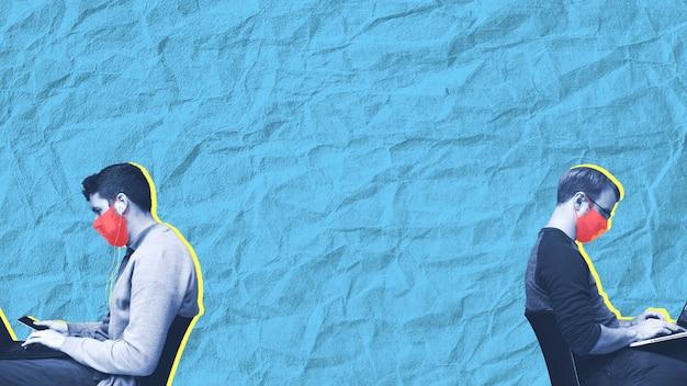 Uomini con maschere che hanno la distanza fisica nell'illustrazione del modello sociale dell'ufficio