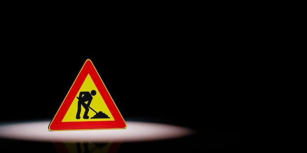 Uomini al lavoro triangolo cartello stradale sotto i riflettori isolato