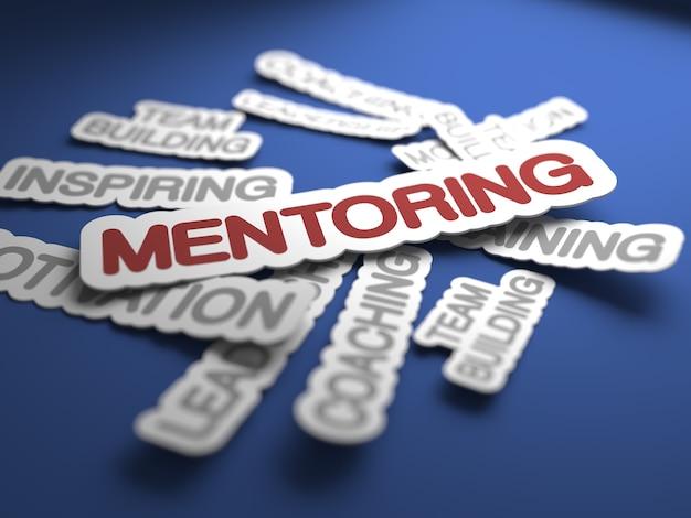 Testo di mentoring con attenzione selettiva. rendering 3d.