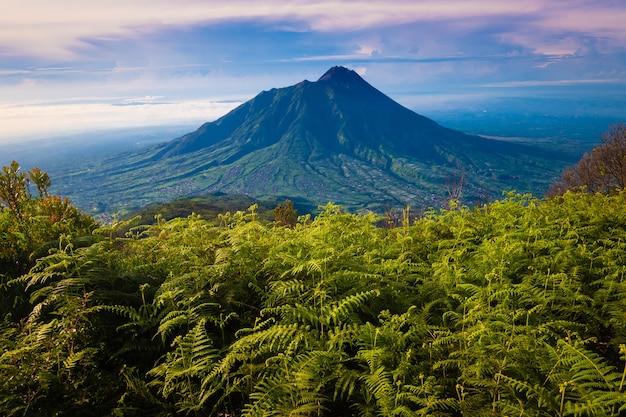 Vulcano merapi ripreso da un'altezza. vista del monte merapi