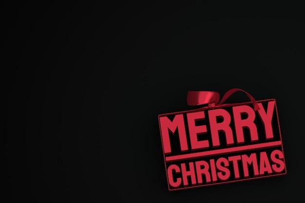 Buon natale 3d design con fiocco e nastro su sfondo nero