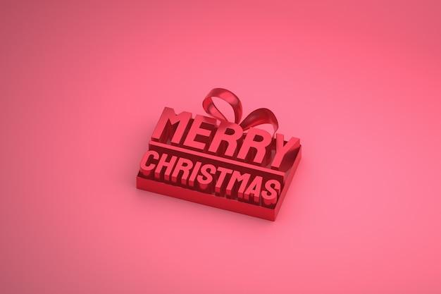 Buon natale 3d design con fiocco e nastro su sfondo rosa