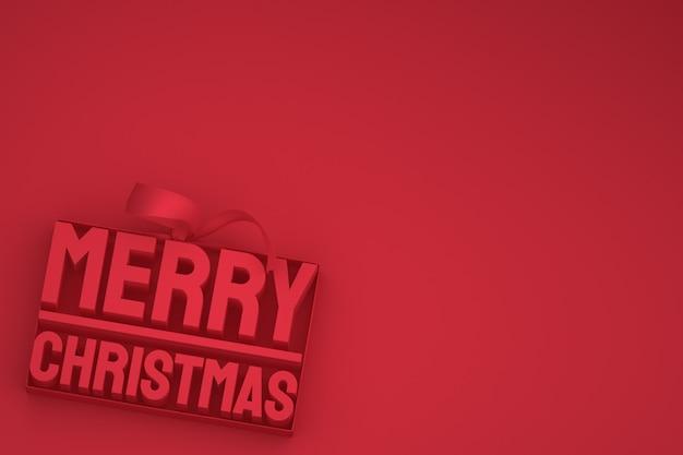 Buon natale 3d design con fiocco e nastro su sfondo rosso