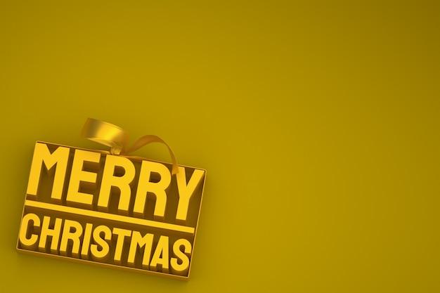 Buon natale 3d design con fiocco e nastro su sfondo giallo