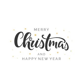 Merry christmas pennello lettering in ghirlanda floreale tipografia natalizia scritta a mano
