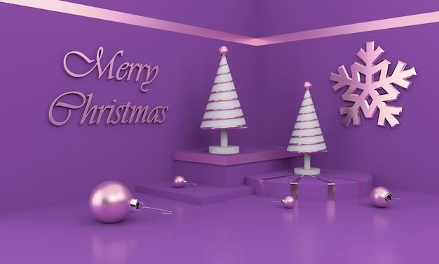 Composizione in buon natale con alberi di natale bianchi e ornamenti