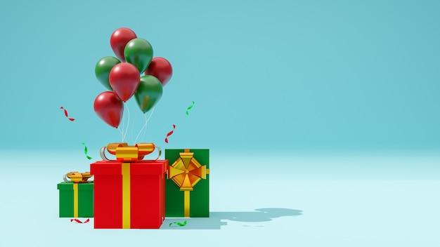Buon natale, confezione regalo e palloncini. rendering 3d