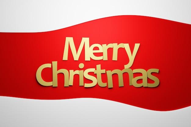 Iscrizione dorata di buon natale su sfondo bianco e rosso isolato. alfabeto di capodanno per modello di scheda di vacanze di natale. cornice di concetto per le congratulazioni
