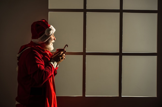 Buon natale e buone feste. il nuovo anno sta arrivando. felicità e gioia. pronto per la festa di natale. festeggiare le vacanze invernali. l'uomo divertente indossa il cappotto e il cappello di babbo natale. shopping.