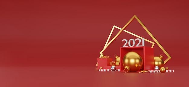 Buon natale e felice anno nuovo sfondo con decorazioni festive e copia spazio. illustrazione 3d