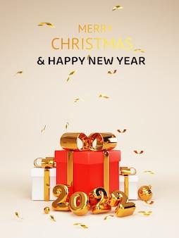Buon natale e felice anno nuovo disegno realistico del ritratto di oro 2022 anni e chiudi scatole regalo rosse con fiocchi dorati decorativi luccicanti e palline con il concetto di tecnica di rendering 3d.