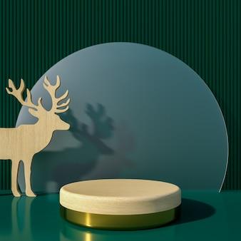 Buon natale e felice anno nuovo con decorazioni di sfondo per il rendering 3d di prodotti pubblicitari