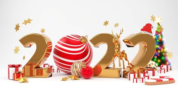 Buon natale e felice anno nuovo 2022. design minimale astratto, alberi di natale, confezione regalo, rendering 3d.