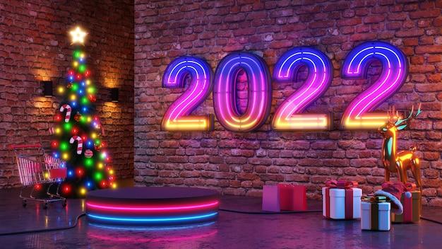 Buon natale e felice anno nuovo 2022. design minimale astratto, alberi di natale con luce al neon, confezione regalo, palcoscenico realistico rotondo vuoto, podio. rendering 3d.