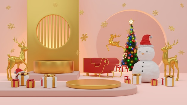 Buon natale e felice anno nuovo. design minimale astratto, alberi di natale geometrici, confezione regalo, palcoscenico realistico rotondo vuoto, podio. rendering 3d.