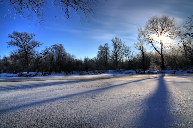 Affascinante paesaggio invernale bellissimi cumuli di neve si ergono nella foresta tra gli alberi in una soleggiata giornata invernale gelida. il concetto di aspra ma bella natura settentrionale