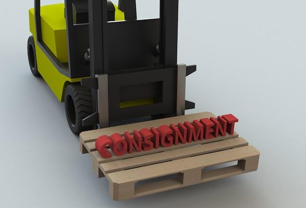 Messaggio su pillet in legno con carrello elevatore