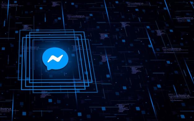 Icona con il logo di messenger su background tecnologico con elementi di codice