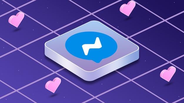 Icona logo messenger con cuori intorno a 3d