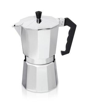 Caffettiera in metallo isolata, macchina per il caffè geyser