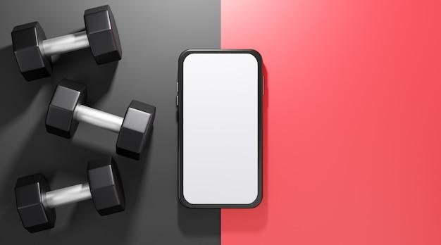 Manubri in metallo con mockup mobile con schermo bianco, attrezzature per il fitness