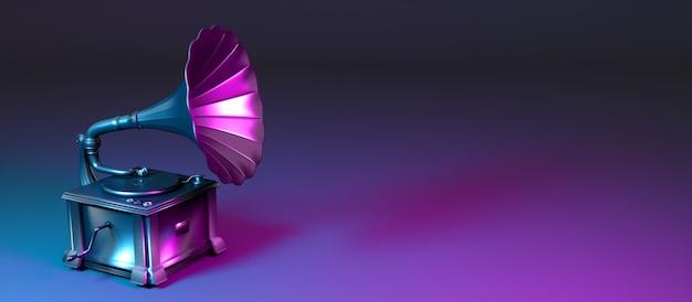 Grammofono in metallo in luce al neon, 3d'illustrazione