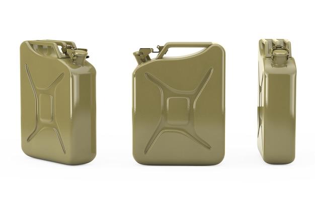 Tanica in metallo con spazio libero per il tuo design su sfondo bianco. rendering 3d