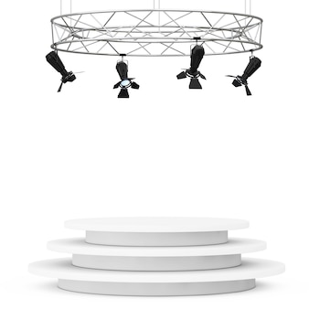 Costruzione moderna del riflettore della fase del metallo con il podio su un fondo bianco. rendering 3d