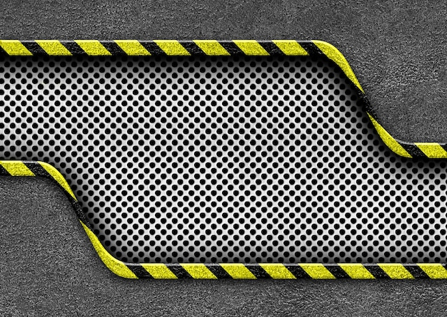 Piastra metallica con strisce di avvertimento sfondo attenzione pericolo, illustrazione 3d