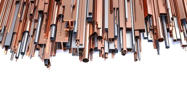 Profili metallici in ferro e rame, diverse forme e dimensioni. rendering 3d.