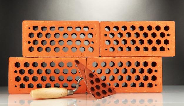 Strumento di metallo per la costruzione e mattoni su nero