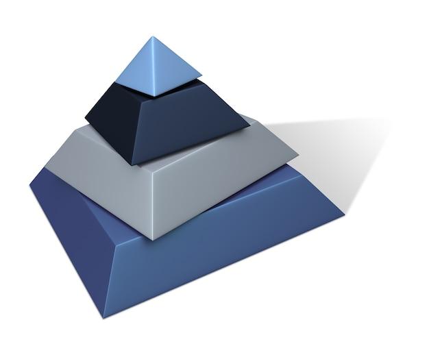 Piramide metallica della vernice - rappresentazione 3d. isolato su bianco.