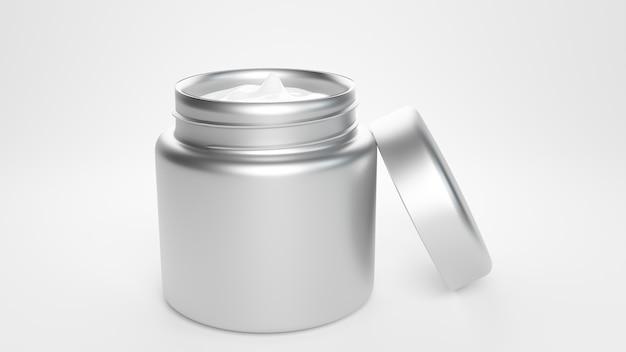 Barattolo di plastica metallico vuoto su sfondo bianco vista carattere 3d rendering