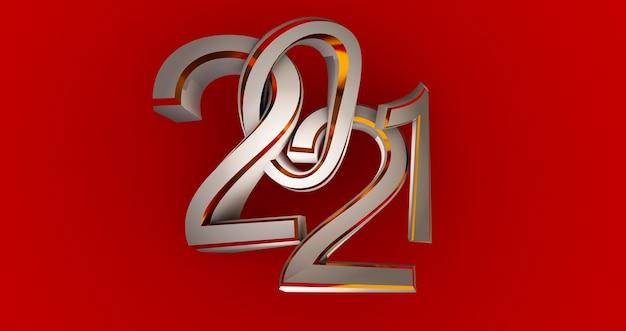 Anno nuovo 2021 metallico isolato sul rosso