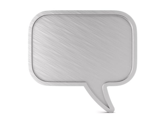 La bolla metallica parla su uno spazio bianco. illustrazione 3d isolata