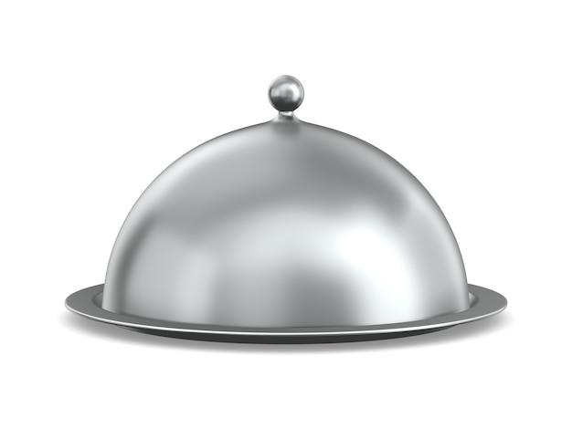 Cloche metallico su sfondo bianco. illustrazione 3d isolata