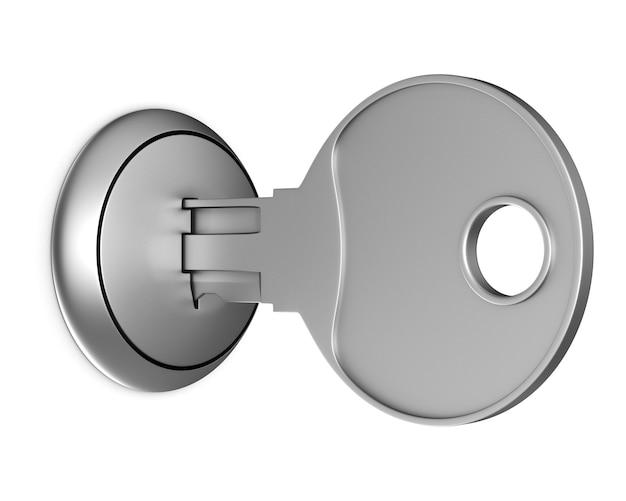 Chiave metallica su sfondo bianco. illustrazione 3d isolata