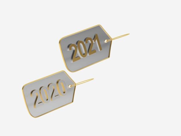 Etichette metalliche con numeri di capodanno