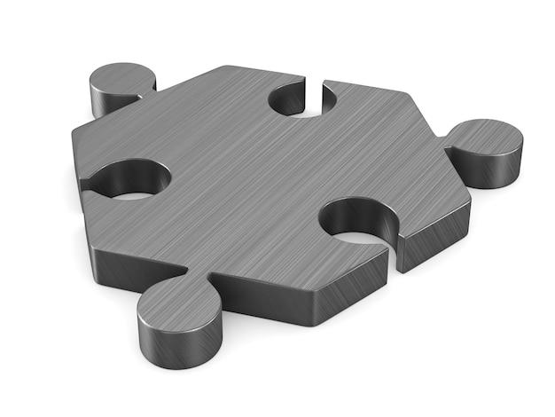 Puzzle metallico su sfondo bianco. illustrazione 3d isolata