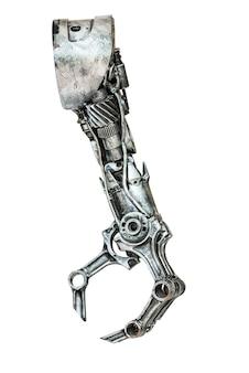 Robot metallico fatto a mano da un pezzo di macchina isolato su bianco