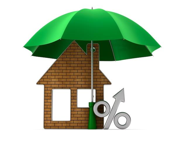 Casa del gingillo metallico e percentuale sotto l'ombrello. isolato, rendering 3d